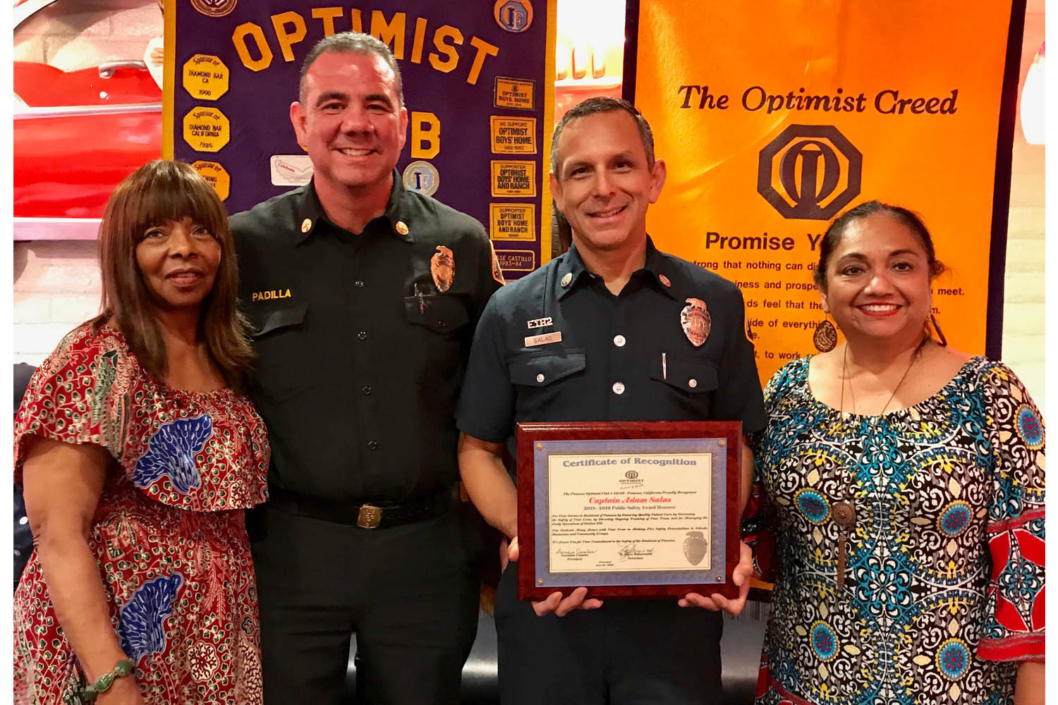 On Thursday, June 13, 2019, the Pomona Optimist Club held its Respect for Public Safety Dinner at Mr. D's Diner.  The annual event honors members of the Los Angeles County Fire Department and Pomona Police Department.